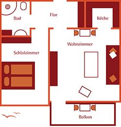 Grundriss Appartement Seerose, Westerland auf Sylt